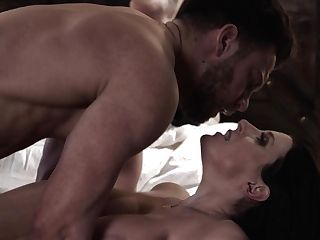 Fabulous Big Boobed Wifey Angela Milky Fondles Love Button While Fucking Missionary