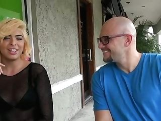 Whorish Blonde Permits One Dude To Touch Her Tits Outdoor