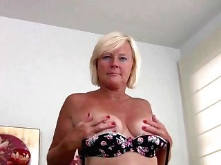 Pantyhosed Grand-ma Presses Her Pleasure Buttons