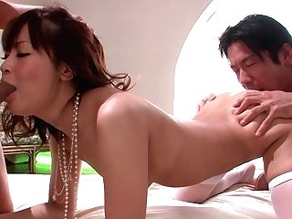Appetizing Japanese Chick In Stockings Maika Has Dirty Joy In Mmf Threesome