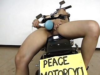 Sexy Japanese Chick Disrobing And Equipment Fucking On A Motorcycle