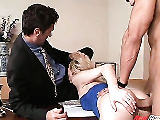 Nasty Assistant Samantha Sin Gets Drilled By Her Manager And His Colleague