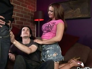 Buxom Dark-haired And Two  Bisexual Guys Go Wild