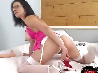 Matures Brown-haired Is Sucking Her Massive Fake Penis And Getting Ready To Masturbate Like A Adult Movie Star