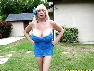 Gorgeous Undergarments Cougar Tugging Hard Chisel
